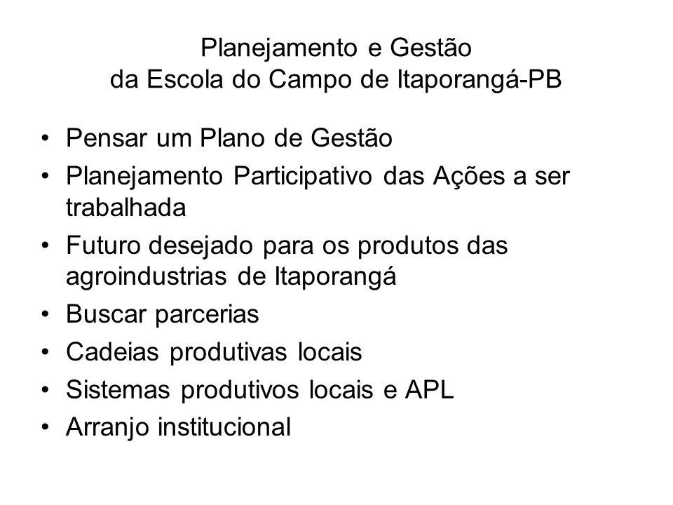 Planejamento e Gestão da Escola do Campo de Itaporangá-PB Pensar um Plano de Gestão Planejamento Participativo das Ações a ser trabalhada Futuro desej