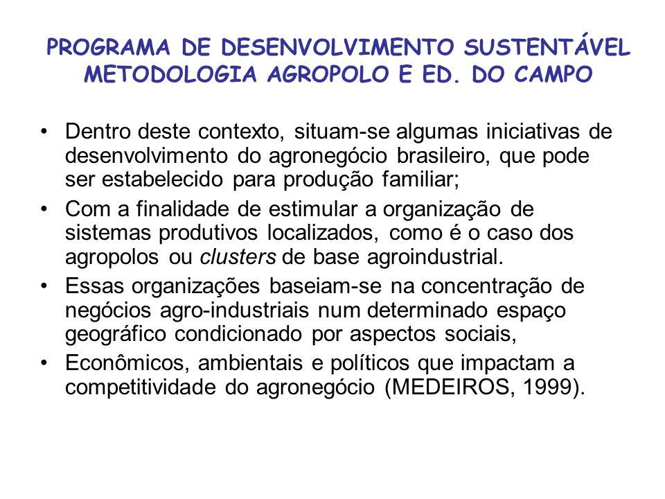 PROGRAMA DE DESENVOLVIMENTO SUSTENTÁVEL METODOLOGIA AGROPOLO E ED. DO CAMPO Dentro deste contexto, situam-se algumas iniciativas de desenvolvimento do