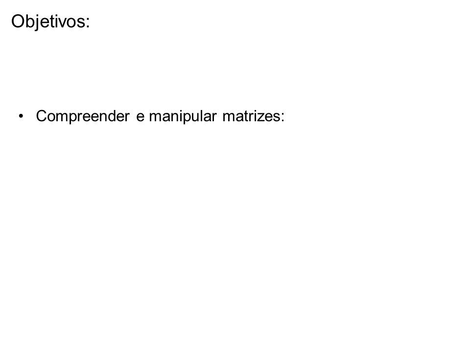 Compreender e manipular matrizes: Objetivos: