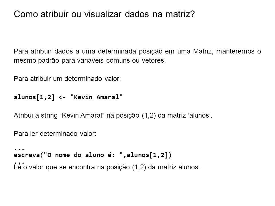 Como atribuir ou visualizar dados na matriz? Para atribuir dados a uma determinada posição em uma Matriz, manteremos o mesmo padrão para variáveis com