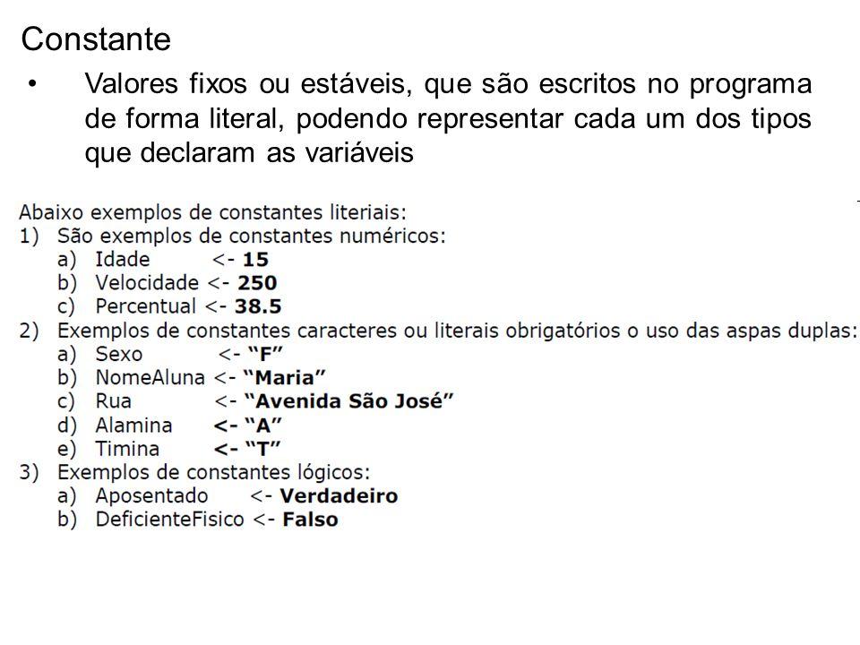 Constante Valores fixos ou estáveis, que são escritos no programa de forma literal, podendo representar cada um dos tipos que declaram as variáveis