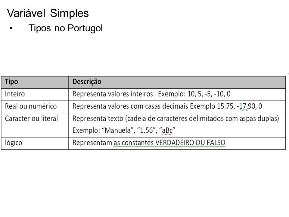 Variável Simples Tipos no Portugol