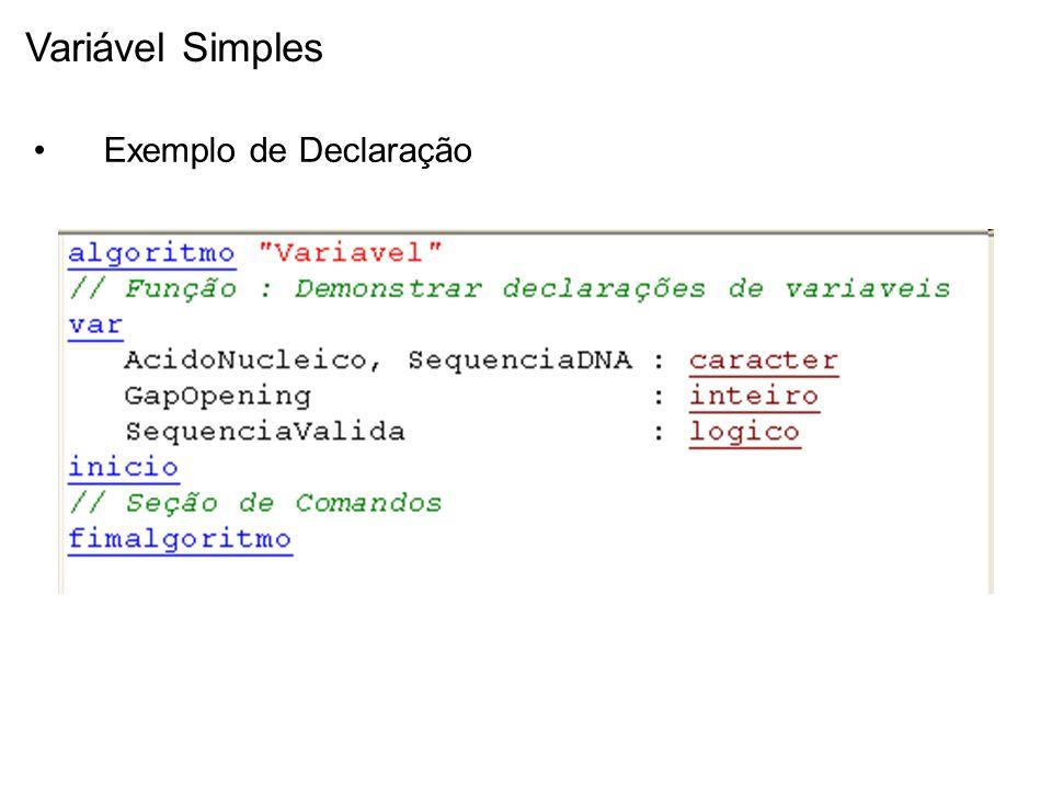 Variável Simples Exemplo de Declaração