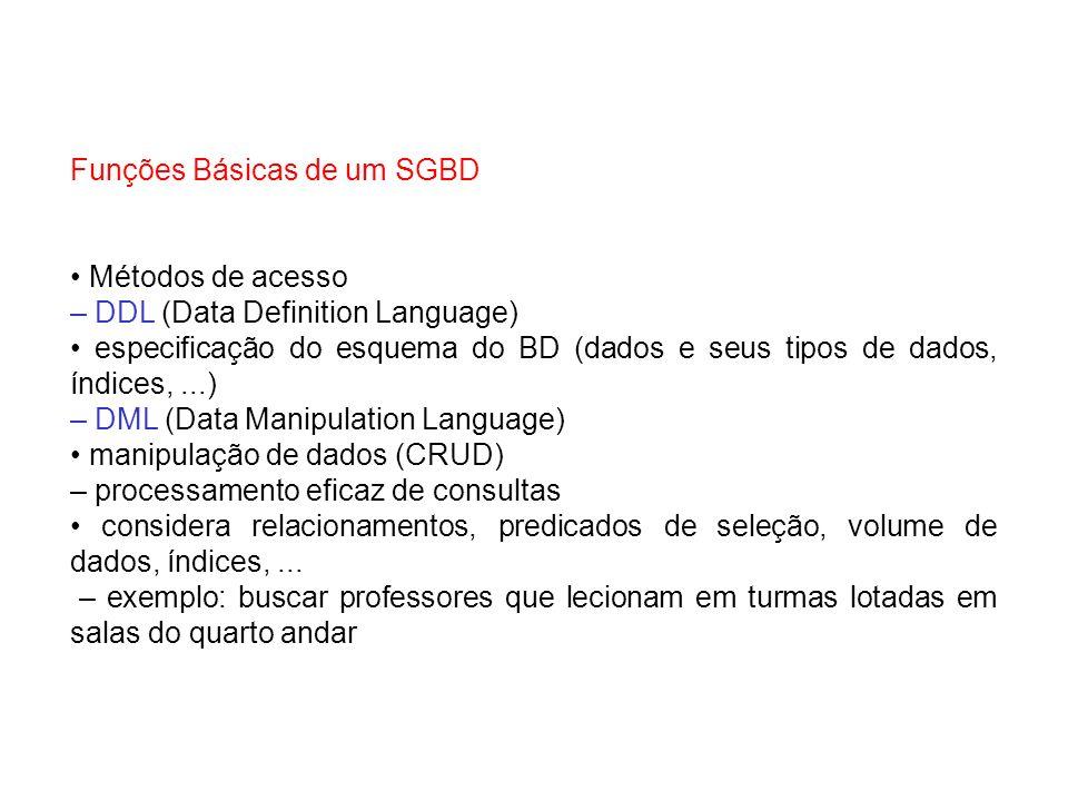 Funções Básicas de um SGBD Métodos de acesso – DDL (Data Definition Language) especificação do esquema do BD (dados e seus tipos de dados, índices,...