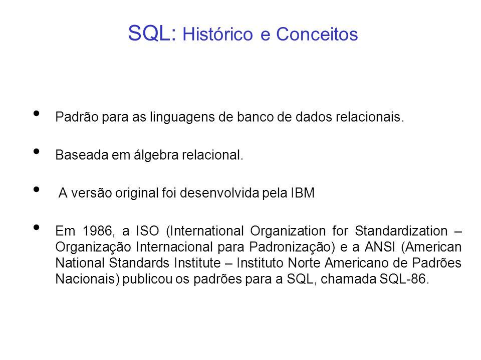 SQL: Histórico e Conceitos Padrão para as linguagens de banco de dados relacionais. Baseada em álgebra relacional. A versão original foi desenvolvida