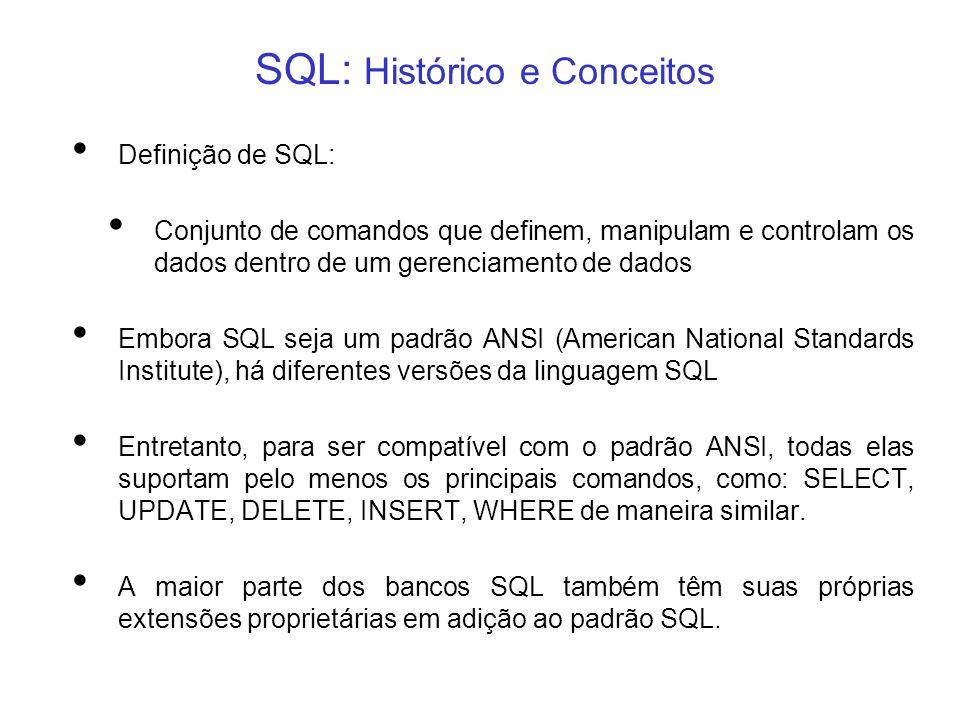SQL: Histórico e Conceitos Definição de SQL: Conjunto de comandos que definem, manipulam e controlam os dados dentro de um gerenciamento de dados Embo