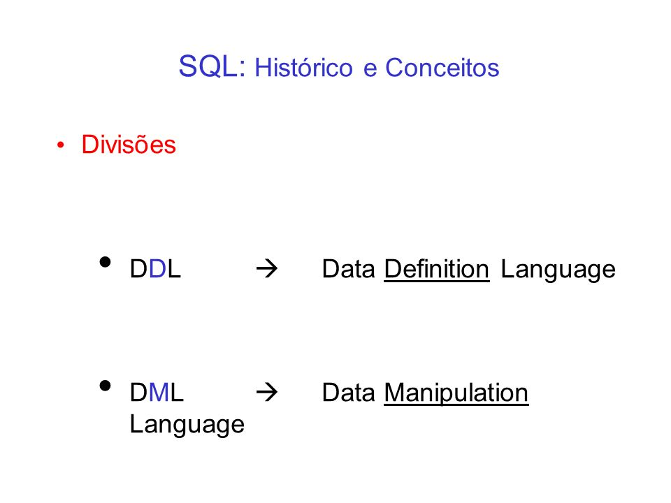 SQL: Histórico e Conceitos Divisões DDL Data Definition Language DML Data Manipulation Language
