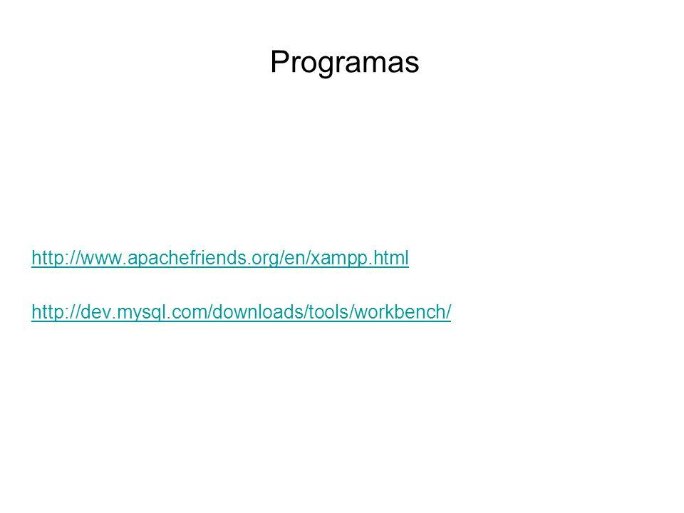 Programas http://www.apachefriends.org/en/xampp.html http://dev.mysql.com/downloads/tools/workbench/