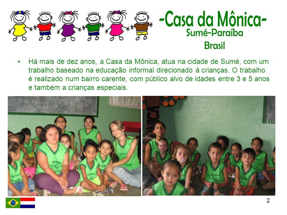 2 Há mais de dez anos, a Casa da Mônica, atua na cidade de Sumé, com um trabalho baseado na educação informal direcionado à crianças. O trabalho é rea