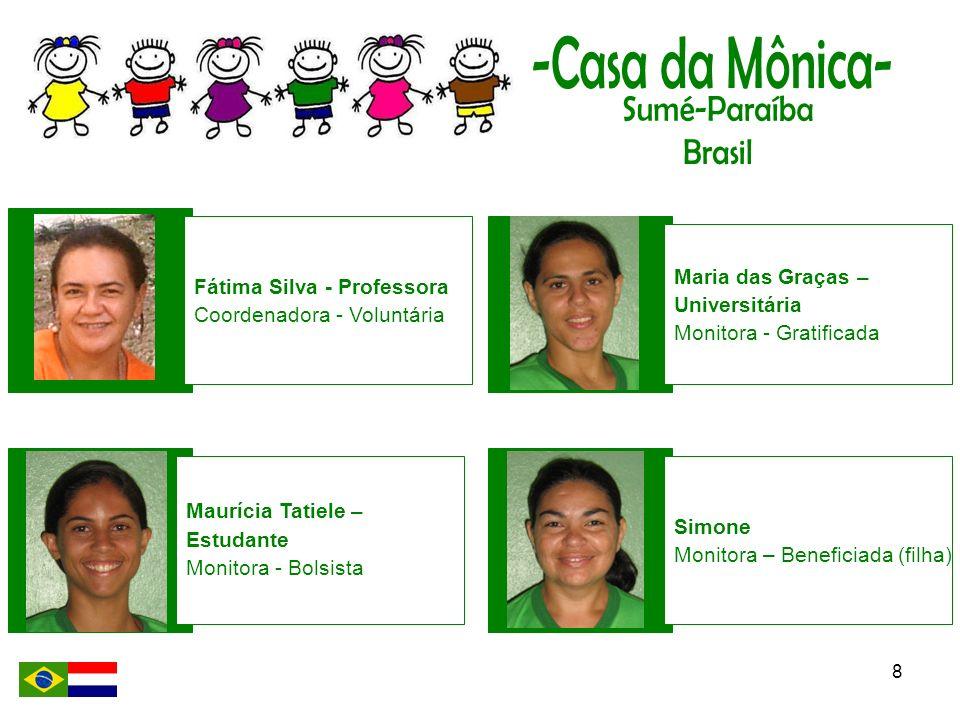 8 Fátima Silva - Professora Coordenadora - Voluntária Maurícia Tatiele – Estudante Monitora - Bolsista Maria das Graças – Universitária Monitora - Gra