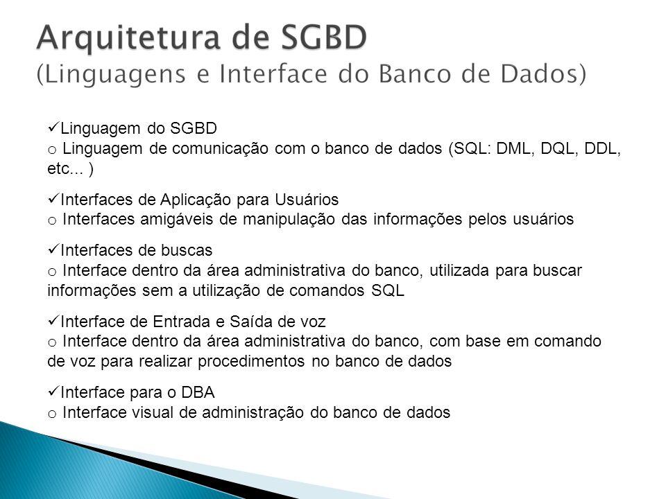 Linguagem do SGBD o Linguagem de comunicação com o banco de dados (SQL: DML, DQL, DDL, etc... ) Interfaces de Aplicação para Usuários o Interfaces ami