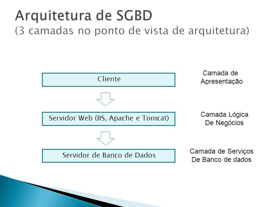 Cliente Servidor Web (IIS, Apache e Tomcat) Servidor de Banco de Dados Camada de Apresentação Camada Lógica De Negócios Camada de Serviços De Banco de