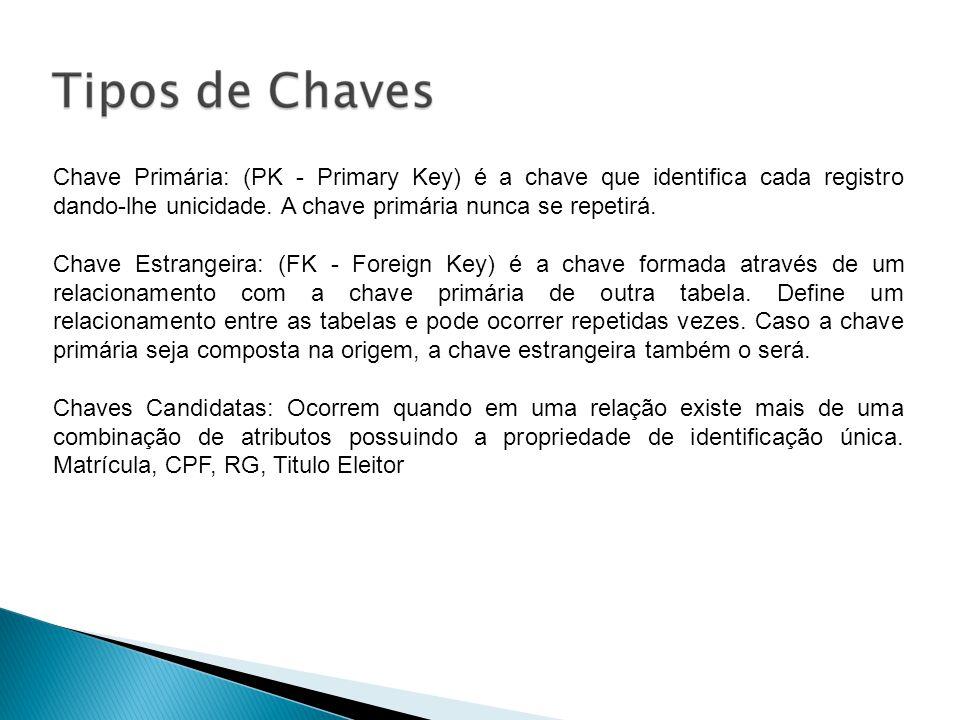 Chave Primária: (PK - Primary Key) é a chave que identifica cada registro dando-lhe unicidade. A chave primária nunca se repetirá. Chave Estrangeira: