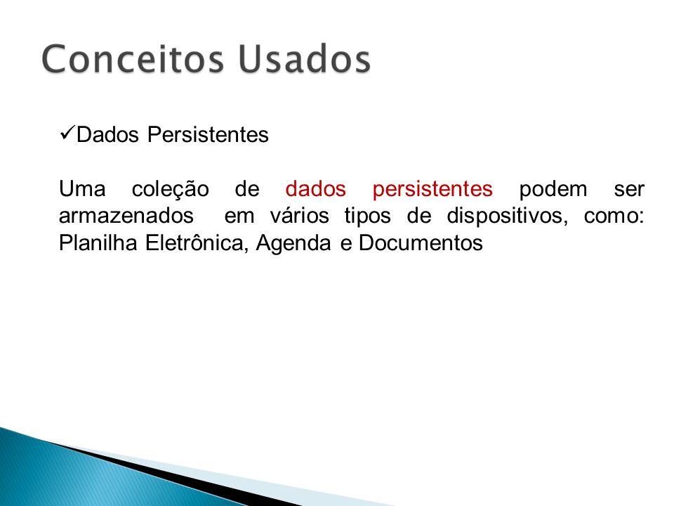 Dados Persistentes Uma coleção de dados persistentes podem ser armazenados em vários tipos de dispositivos, como: Planilha Eletrônica, Agenda e Docume