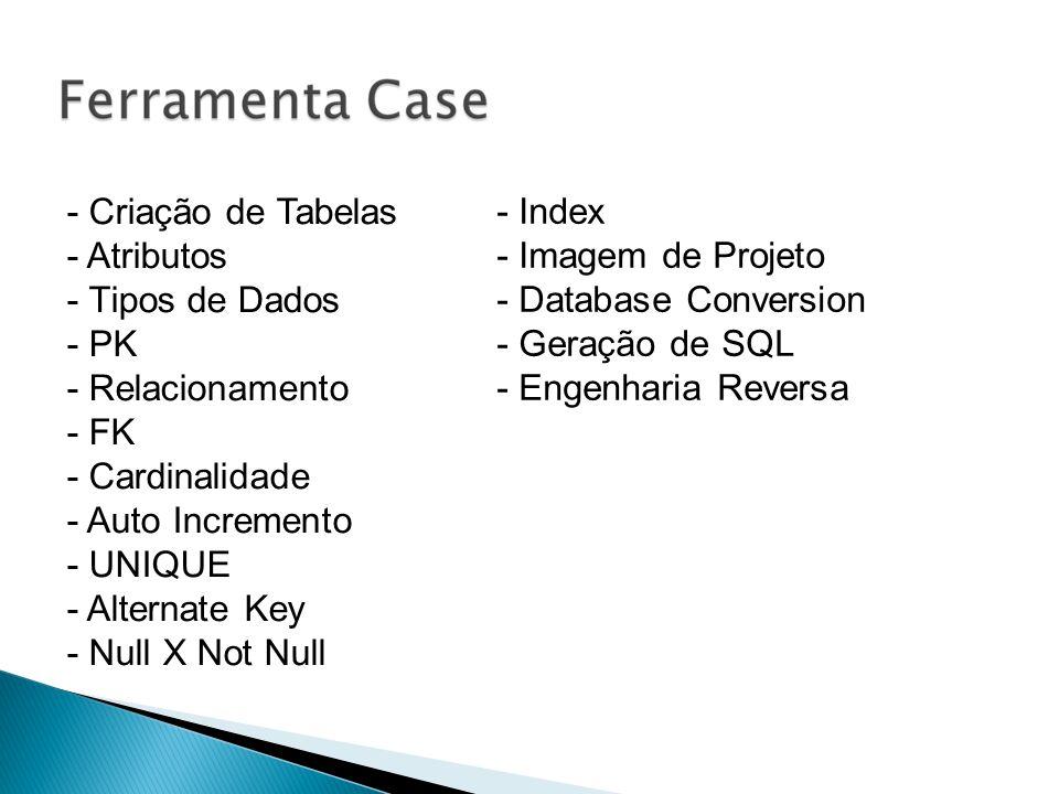 - Criação de Tabelas - Atributos - Tipos de Dados - PK - Relacionamento - FK - Cardinalidade - Auto Incremento - UNIQUE - Alternate Key - Null X Not N