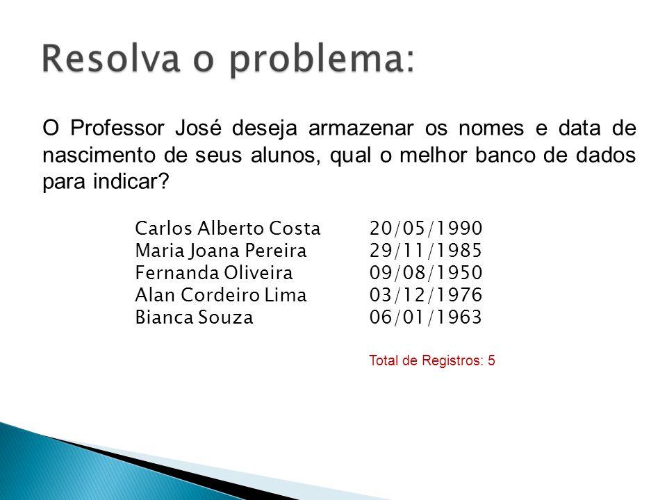 O Professor José deseja armazenar os nomes e data de nascimento de seus alunos, qual o melhor banco de dados para indicar? Carlos Alberto Costa Maria