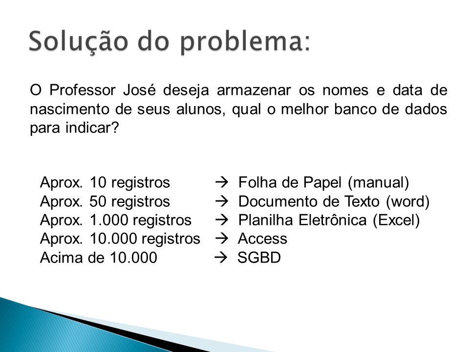 O Professor José deseja armazenar os nomes e data de nascimento de seus alunos, qual o melhor banco de dados para indicar? Aprox. 10 registros Folha d