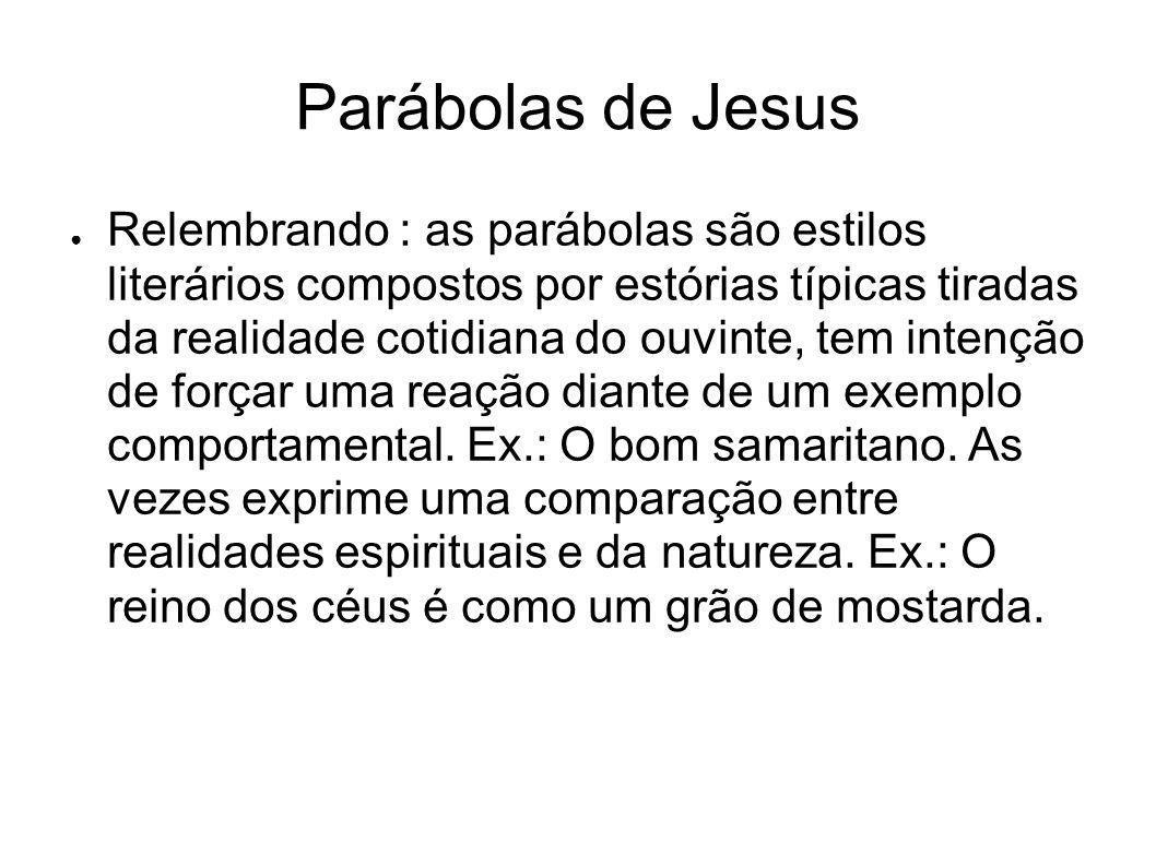 Parábolas de Jesus Relembrando : as parábolas são estilos literários compostos por estórias típicas tiradas da realidade cotidiana do ouvinte, tem int