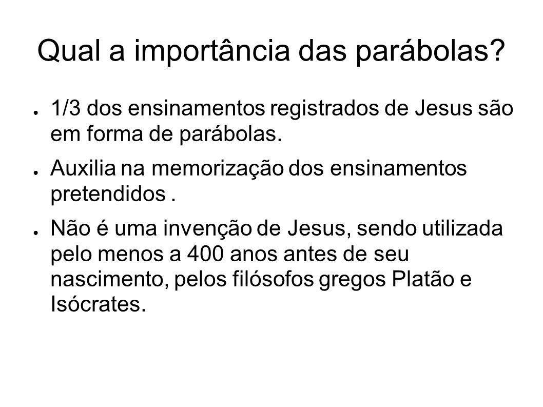 Qual a importância das parábolas? 1/3 dos ensinamentos registrados de Jesus são em forma de parábolas. Auxilia na memorização dos ensinamentos pretend