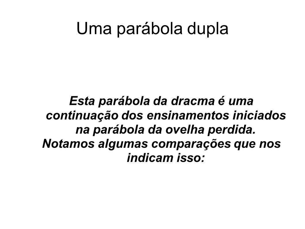 Uma parábola dupla Esta parábola da dracma é uma continuação dos ensinamentos iniciados na parábola da ovelha perdida. Notamos algumas comparações que