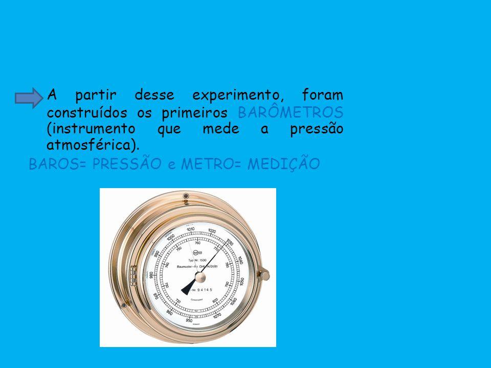 A partir desse experimento, foram construídos os primeiros BARÔMETROS (instrumento que mede a pressão atmosférica). BAROS= PRESSÃO e METRO= MEDIÇÃO