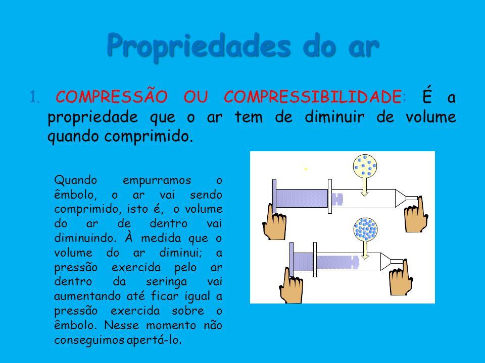Propriedades do ar 1. COMPRESSÃO OU COMPRESSIBILIDADE: É a propriedade que o ar tem de diminuir de volume quando comprimido. Quando empurramos o êmbol