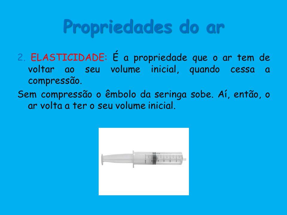 Propriedades do ar 2. ELASTICIDADE: É a propriedade que o ar tem de voltar ao seu volume inicial, quando cessa a compressão. Sem compressão o êmbolo d