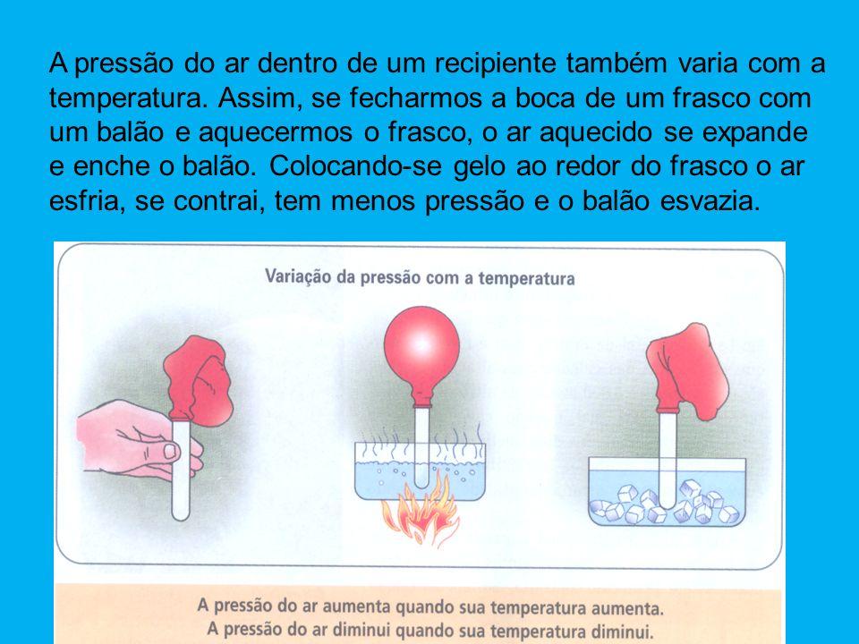 A pressão do ar dentro de um recipiente também varia com a temperatura. Assim, se fecharmos a boca de um frasco com um balão e aquecermos o frasco, o