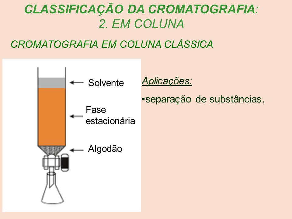 CROMATOGRAFIA EM COLUNA CLÁSSICA Aplicações: separação de substâncias. CLASSIFICAÇÃO DA CROMATOGRAFIA: 2. EM COLUNA Solvente Fase estacionária Algodão