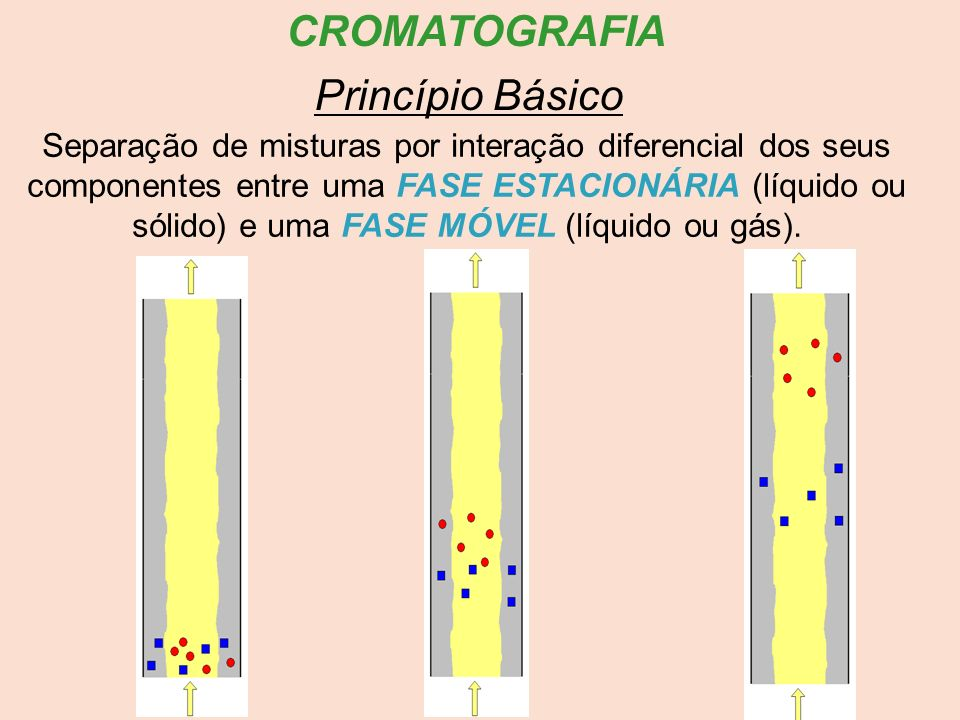 CROMATOGRAFIA Separação de misturas por interação diferencial dos seus componentes entre uma FASE ESTACIONÁRIA (líquido ou sólido) e uma FASE MÓVEL (l