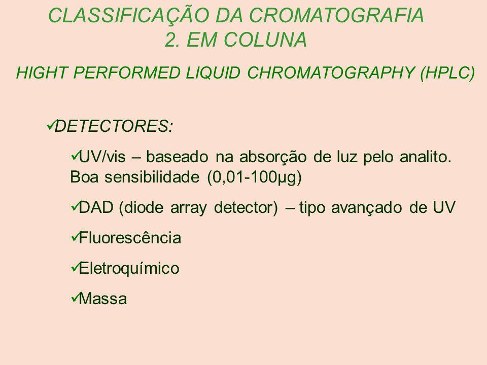 HIGHT PERFORMED LIQUID CHROMATOGRAPHY (HPLC) CLASSIFICAÇÃO DA CROMATOGRAFIA 2. EM COLUNA DETECTORES: UV/vis – baseado na absorção de luz pelo analito.