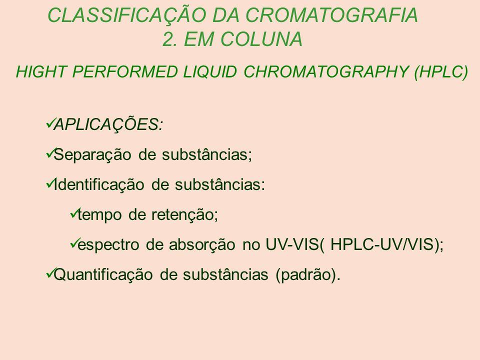 HIGHT PERFORMED LIQUID CHROMATOGRAPHY (HPLC) CLASSIFICAÇÃO DA CROMATOGRAFIA 2. EM COLUNA APLICAÇÕES: Separação de substâncias; Identificação de substâ