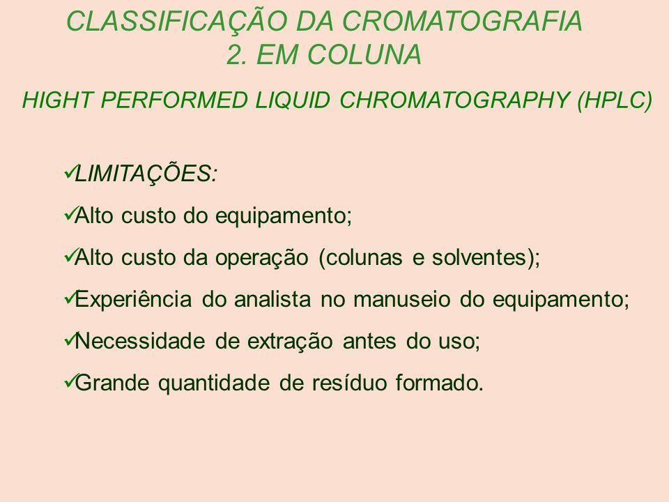 HIGHT PERFORMED LIQUID CHROMATOGRAPHY (HPLC) CLASSIFICAÇÃO DA CROMATOGRAFIA 2. EM COLUNA LIMITAÇÕES: Alto custo do equipamento; Alto custo da operação
