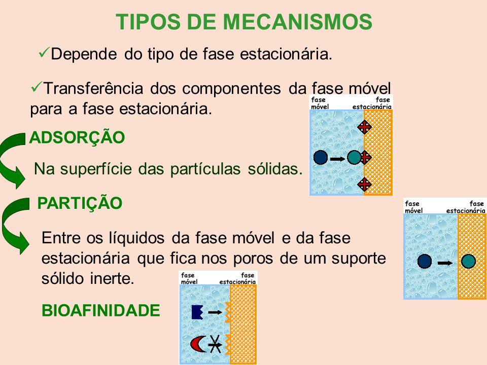 TIPOS DE MECANISMOS Depende do tipo de fase estacionária. Transferência dos componentes da fase móvel para a fase estacionária. ADSORÇÃO Na superfície