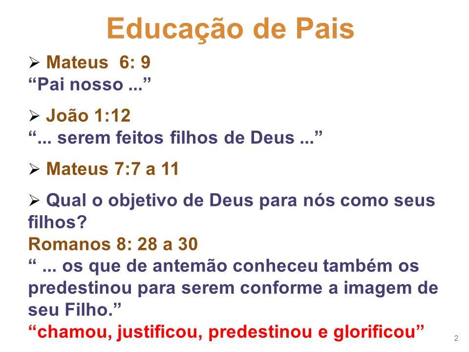 2 Mateus 6: 9 Pai nosso... João 1:12... serem feitos filhos de Deus... Mateus 7:7 a 11 Qual o objetivo de Deus para nós como seus filhos? Romanos 8: 2