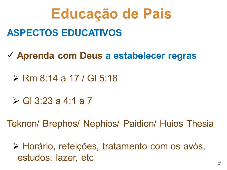 21 Educação de Pais ASPECTOS EDUCATIVOS Aprenda com Deus a estabelecer regras Rm 8:14 a 17 / Gl 5:18 Gl 3:23 a 4:1 a 7 Teknon/ Brephos/ Nephios/ Paidi