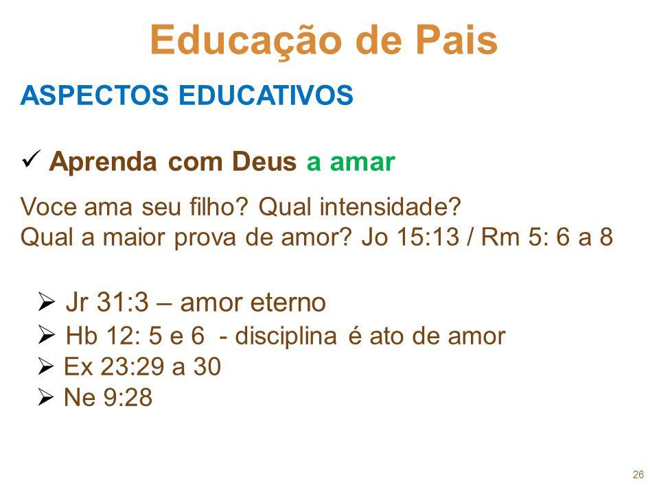 26 Educação de Pais ASPECTOS EDUCATIVOS Aprenda com Deus a amar Voce ama seu filho? Qual intensidade? Qual a maior prova de amor? Jo 15:13 / Rm 5: 6 a