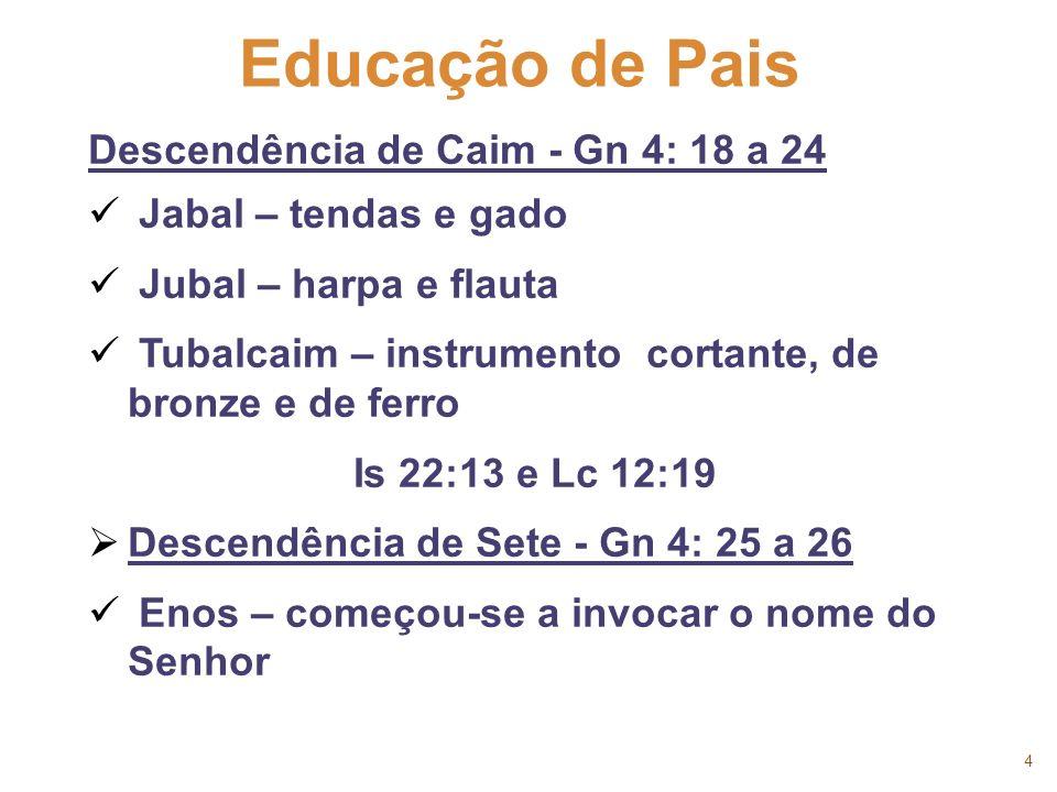 4 Educação de Pais Descendência de Caim - Gn 4: 18 a 24 Jabal – tendas e gado Jubal – harpa e flauta Tubalcaim – instrumento cortante, de bronze e de