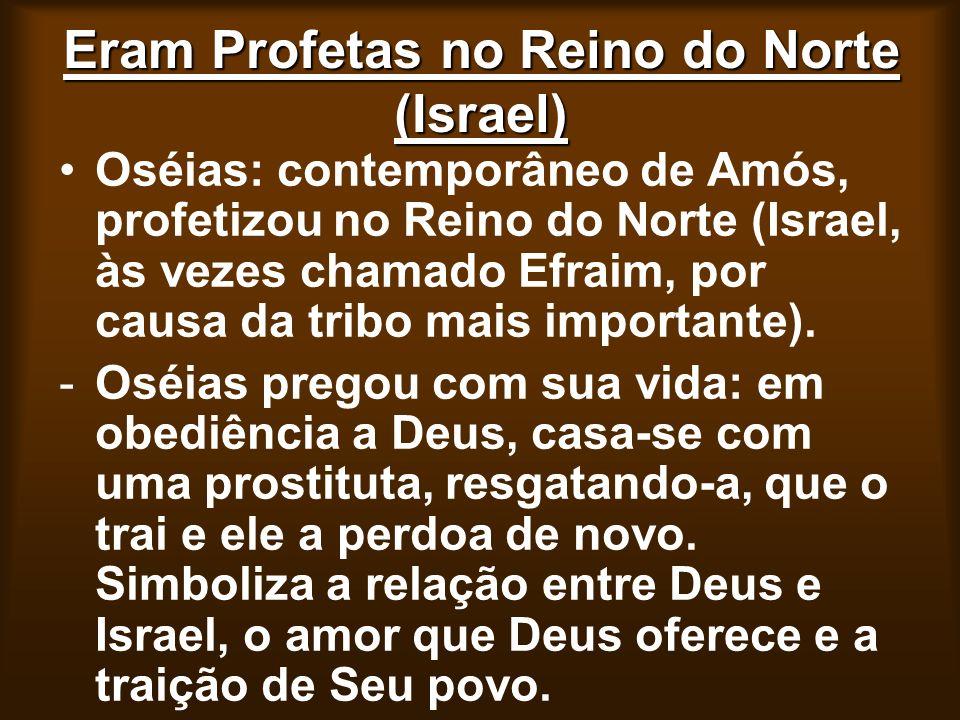 Eram Profetas no Reino do Norte (Israel) Oséias: contemporâneo de Amós, profetizou no Reino do Norte (Israel, às vezes chamado Efraim, por causa da tr