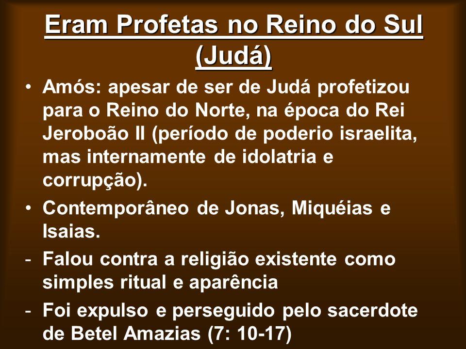 Eram Profetas no Reino do Sul (Judá) Amós: apesar de ser de Judá profetizou para o Reino do Norte, na época do Rei Jeroboão II (período de poderio isr