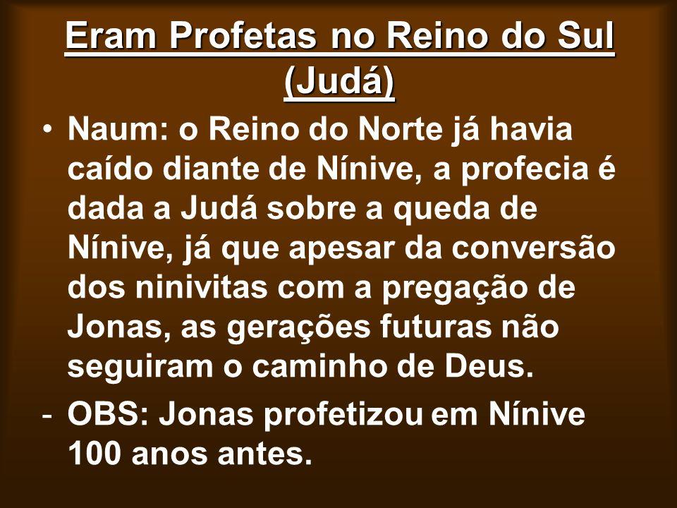 Eram Profetas no Reino do Sul (Judá) Naum: o Reino do Norte já havia caído diante de Nínive, a profecia é dada a Judá sobre a queda de Nínive, já que