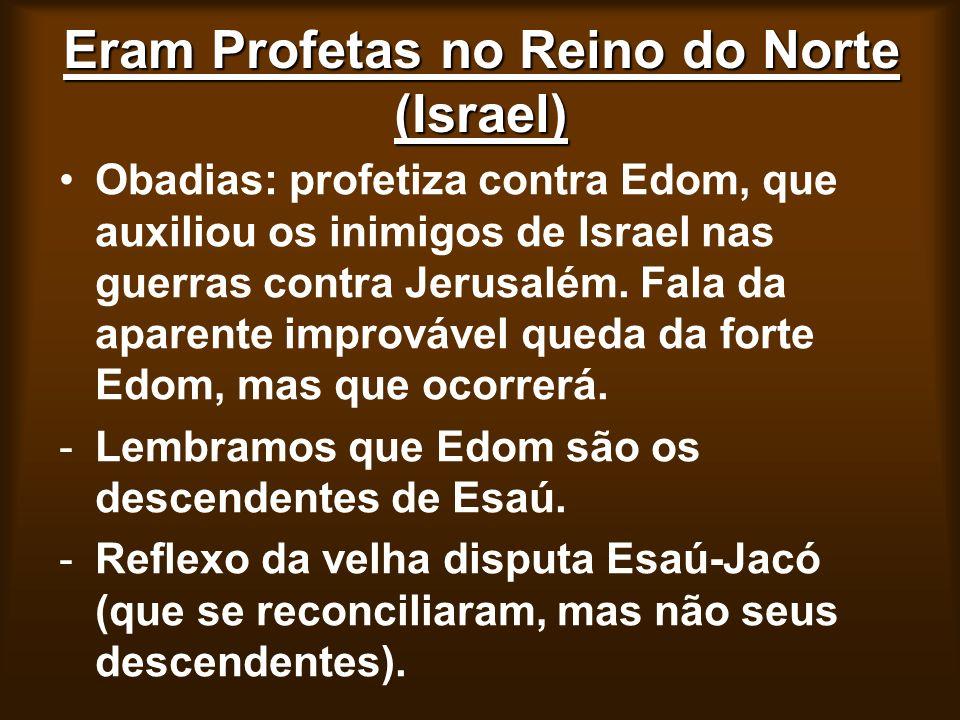 Eram Profetas no Reino do Norte (Israel) Obadias: profetiza contra Edom, que auxiliou os inimigos de Israel nas guerras contra Jerusalém. Fala da apar