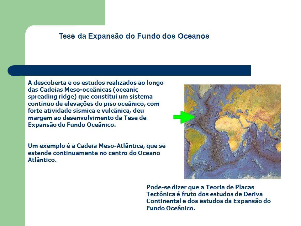 A descoberta e os estudos realizados ao longo das Cadeias Meso-oceânicas (oceanic spreading ridge) que constitui um sistema contínuo de elevações do p
