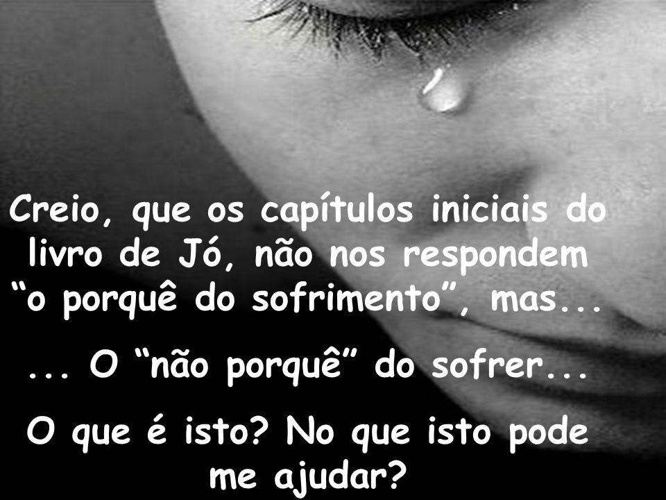 Creio, que os capítulos iniciais do livro de Jó, não nos respondem o porquê do sofrimento, mas...... O não porquê do sofrer... O que é isto? No que is