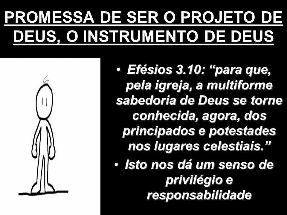 PROMESSA DE SER O PROJETO DE DEUS, O INSTRUMENTO DE DEUS Efésios 3.10: para que, pela igreja, a multiforme sabedoria de Deus se torne conhecida, agora