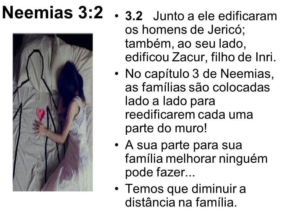 Neemias 3:2 3.2 Junto a ele edificaram os homens de Jericó; também, ao seu lado, edificou Zacur, filho de Inri. No capítulo 3 de Neemias, as famílias
