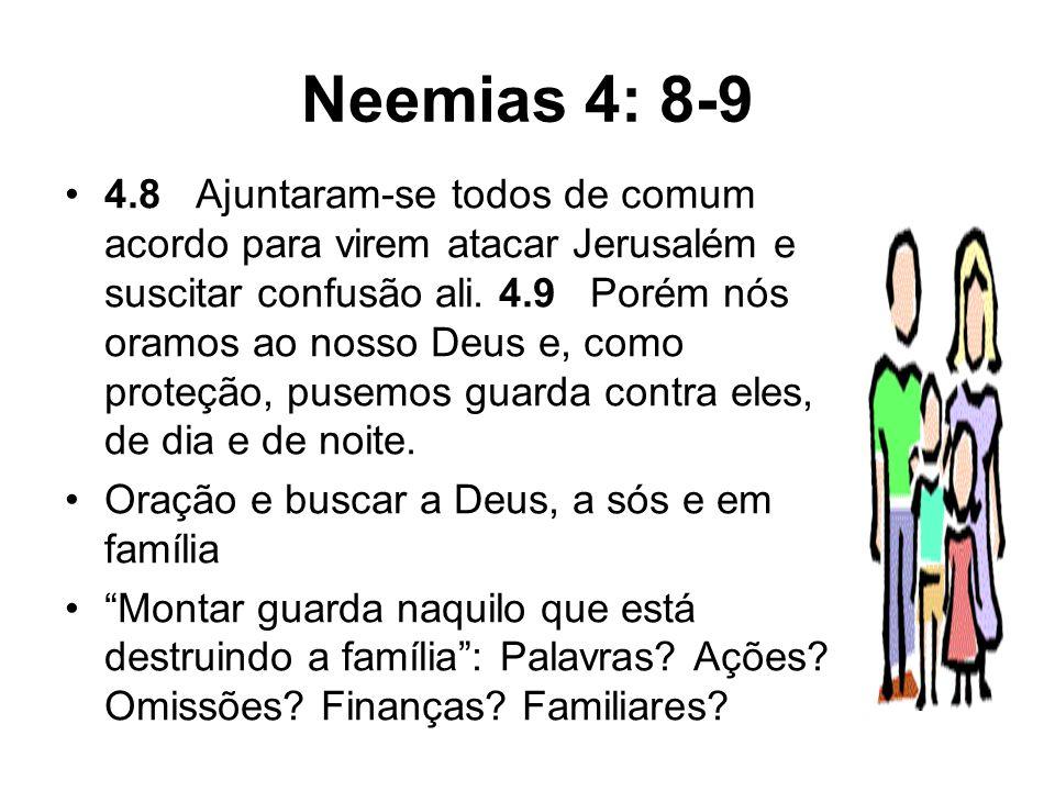 Neemias 4: 8-9 4.8 Ajuntaram-se todos de comum acordo para virem atacar Jerusalém e suscitar confusão ali. 4.9 Porém nós oramos ao nosso Deus e, como