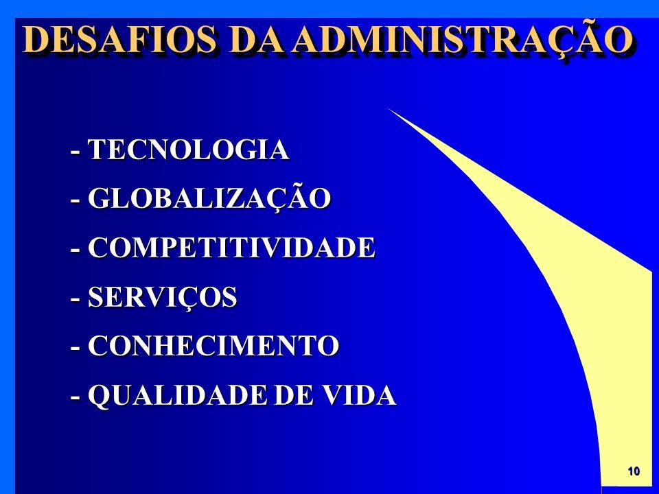 10 - TECNOLOGIA - GLOBALIZAÇÃO - COMPETITIVIDADE - SERVIÇOS - CONHECIMENTO - QUALIDADE DE VIDA DESAFIOS DA ADMINISTRAÇÃO