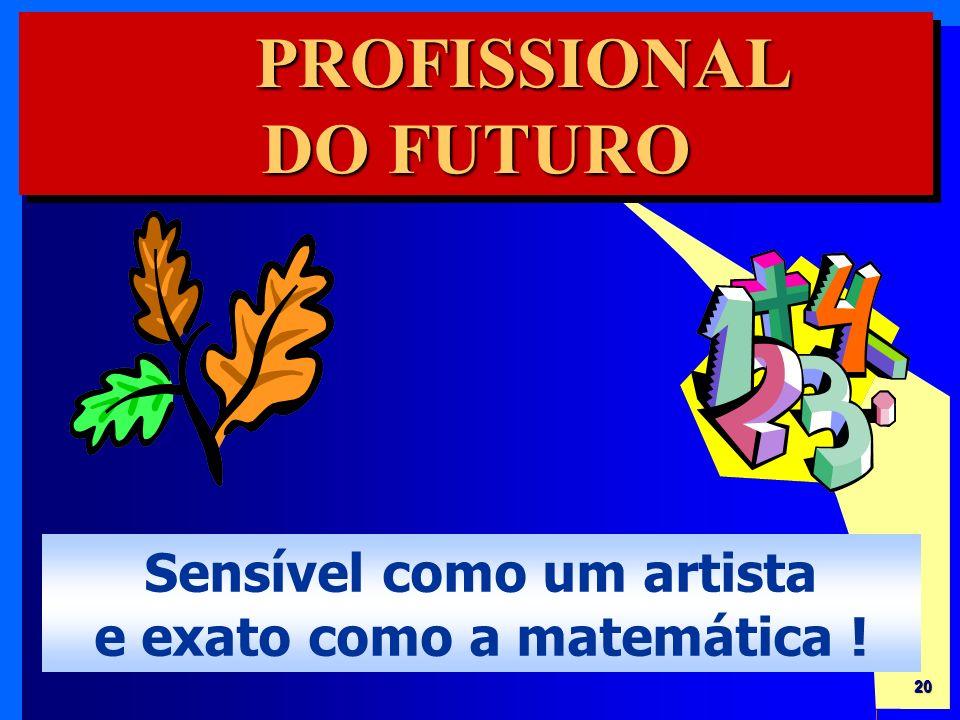20 PROFISSIONAL DO FUTURO PROFISSIONAL Sensível como um artista e exato como a matemática !