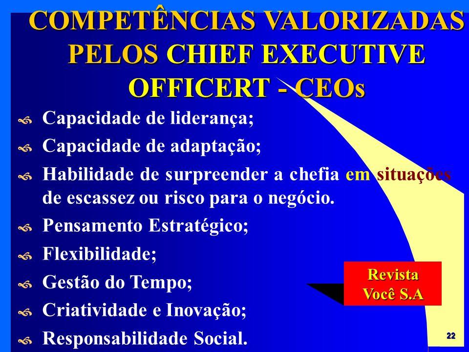 22 COMPETÊNCIAS VALORIZADAS PELOS CHIEF EXECUTIVE OFFICERT - CEOs Capacidade de liderança; Capacidade de adaptação; Habilidade de surpreender a chefia